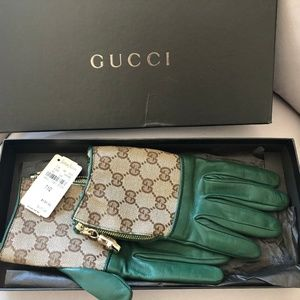 BNWT GUCCI CANVAS LEATHER GLOVES SIZE 7 1/2 ITALY